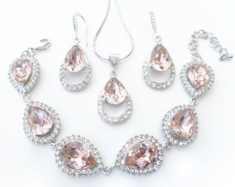Blush Rose, Pink, or Champagne Wedding Drop Earrings, Pendant Necklace, and Bracelet Set for Brides Custom Color Art Deco Bridesmaids Gifts