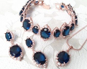 Sapphire on Rose Gold Wedding Set Bracelet, Earrings, or Necklace for 1920s Art Deco Bride or Victorian Jewelry Gift Rosegold Prom Jewellery