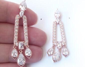 Rosegold Chandelier Earrings for Art Deco Bride Blush Rose Gold Prom Gift