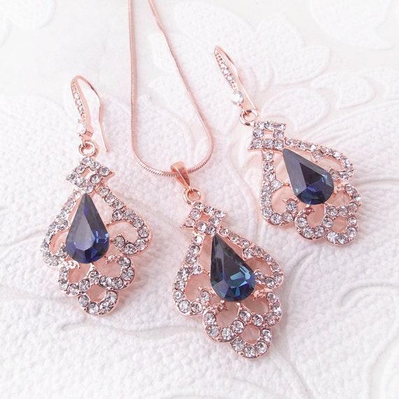 Bride Wedding Party Rose Crystal Rhinestones Drop Necklace Earring Jewelry Set