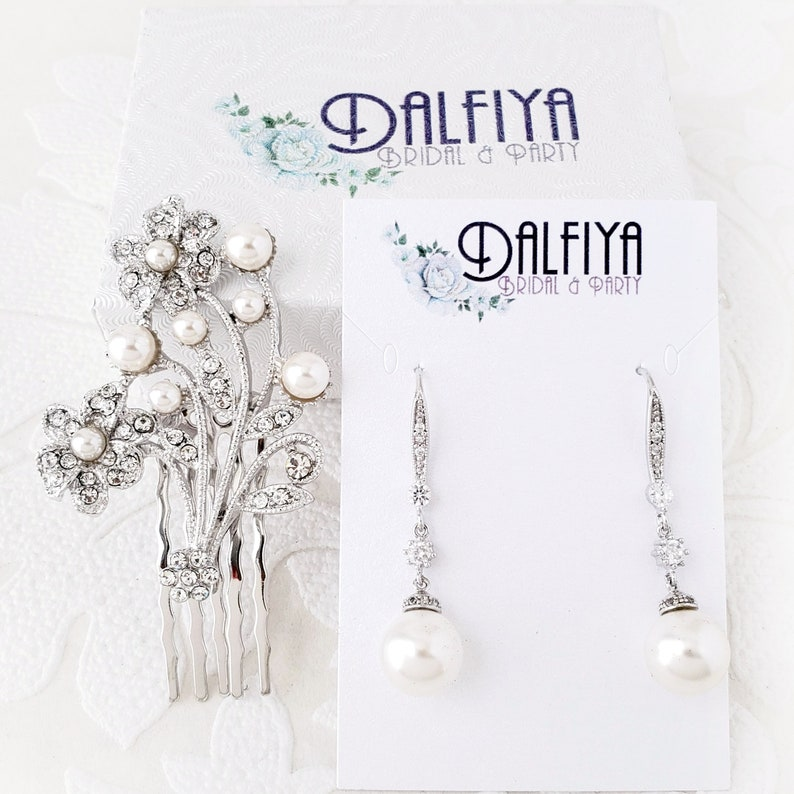 Gold or Silver Hair Floral Comb and Pearl Drop Earrings Wedding Jewelry Set for Brides