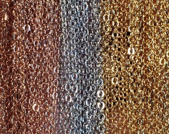 """Silver, Gold, or Rose Gold Plated 1mm Cable Chains in 16-18"""" 18-20"""" 20-22"""" Long"""