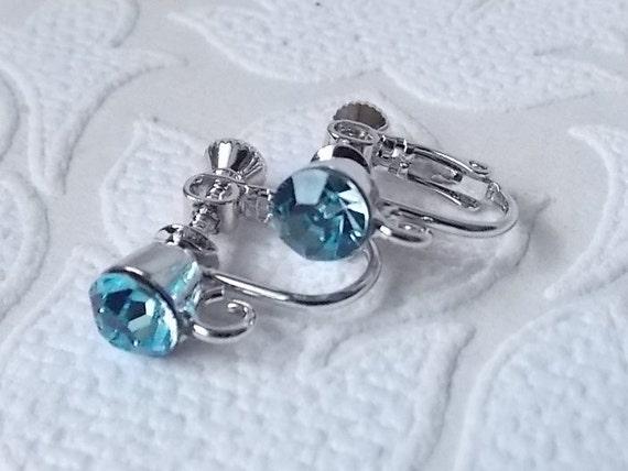 Clips a Vis Pour DIY Boucles d`Oreilles Doré Cristal Bleu Clair Original