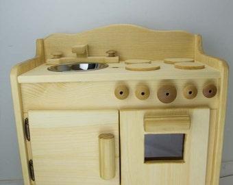 100% Non Toxic Dakotau0027s Wooden Toy Kitchen , Childrenu0027s Toy Kitchen,  Pretend Wooden Stove
