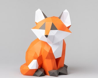 Baby fox Kit for you to make this cute 3d papercraft. DIY kit included cardstock template and instructions provided