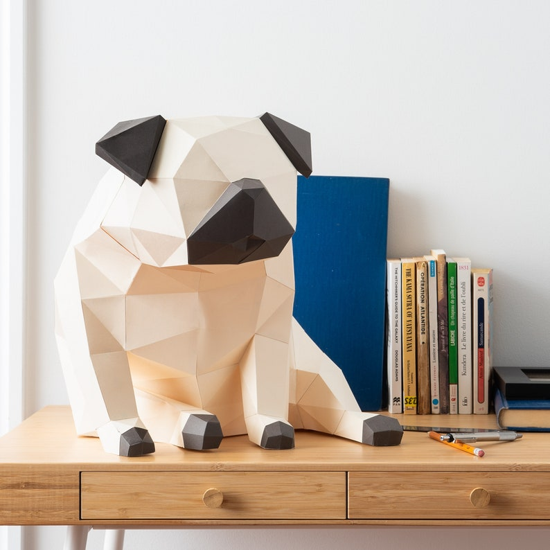 DIY Kit includes cardstock template and instructions provided PUG Kit for you to make this unique 3d papercraft