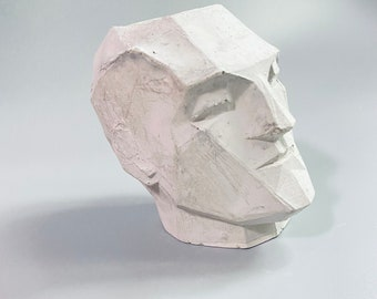 Cement head planter industrial style decor. Made from our 3d head design!