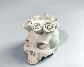 Cement Skull tea light candle holder industrial style decor