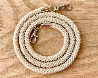 White Bead Crochet Mask Lanyard
