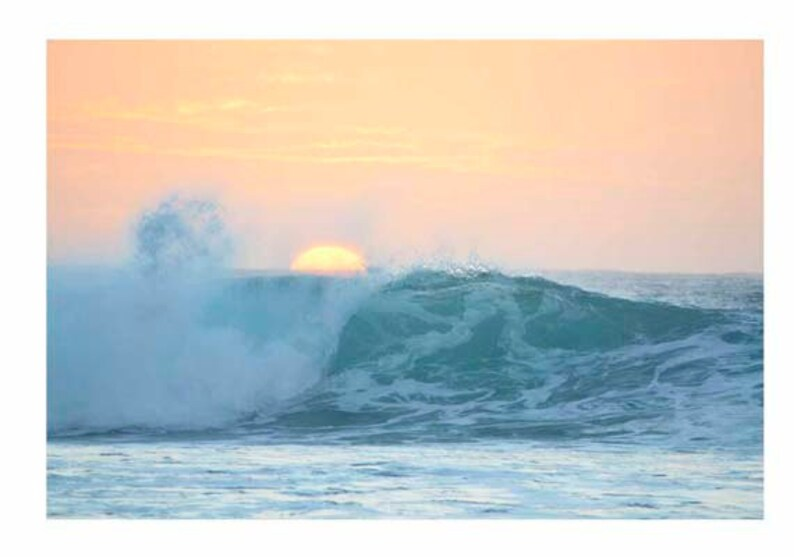 Sunset Wave Ocean Print Film Rincon Puerto Rico Beach Retro Surf Art