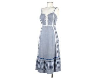 Vintage 70s Dress - 70s Sundress - 70s Gingham Dress - Blue Gingham - Corset Dress - 70s Boho Dress - Gingham Sundress - Gunne Sax Dress