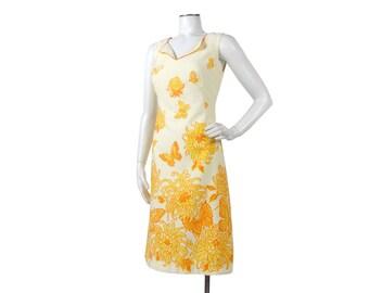 Vintage 70s Dress - 70s Novelty Print Dress - 70s Yellow Dress - 70s Summer Dress - 70s Shift Dress - Butterflies Flowers - Sleeveless Dress