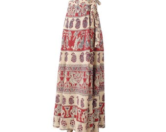 Vintage 70s Skirt - India Block Print Skirt - 70s India Skirt - 70s Wraparound Skirt - Tan Red - 70s Maxi Skirt - Elephants Birds -Boho Maxi
