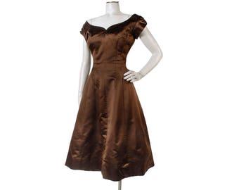 Vintage 50s Dress - 50s Party Dress - Brown Satin Dress - Adele Simpson -  50s Satin Party Dress - 50s Designer Dress - XS - XXS - Silk Satin e1e8b41b4