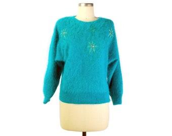 Vintage 80s Sweater - 80s Angora Sweater - 80s Jeweled Sweater - 80s Fuzzy Sweater - Green Angora Sweater - Vintage Angora Sweater - Dolman