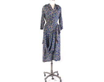 Vintage 40s Dress - 40s Rayon Dress - 40s Novelty Print Dress - 40s Silk Dress - Unicorn Print Dress - Medieval Print Dress - 40s Swag Dress