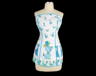 Vintage 50s Top - 50s Strapless Top - 50s Apron Top - 50s Blouse - 50s Novelty Print - Poodles - Dog Print - Chickens - Cat Print Blouse