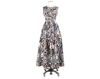 Vintage 70s Dress - 70s Maxi Dress - 70s Abstract Print Dress - 70s Op Art Dress - Op Art Maxi Dress - 70s Cotton Maxi Dress - Novelty Print