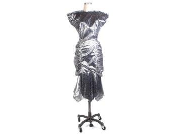 Vintage 80s Dress - 80s Prom Dress - Silver Prom Dress - Metallic 80s Prom Dress - Silver Party Dress - Spider Web Dress Fishtail Hanky Hem