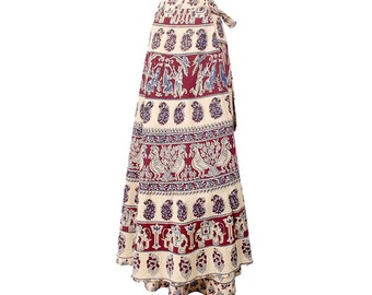 Vintage 70s Skirt - India Block Print Skirt - 70s India Skirt - 70s Wraparound Skirt - Tan Maroon - 70s Maxi Skirt - Elephants Birds - Boho