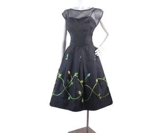d1878a39997e Vintage 50s Dress - 50s Party Dress - 50s Black Party Dress - 50s Organza  Dress - 50s Embroidered Dress - 50s Full Skirt Dress -Floral Dress