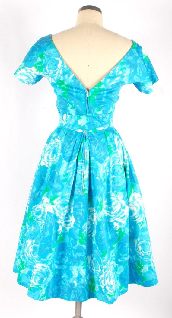 Vintage 50s Party Dress - 50s Floral Dress - 50s … - image 6