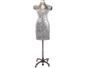 Vintage 80s Dress - 80s Party Dress - 80s Sequined Dress - 80s Prom Dress - 80s Silver Prom Dress - Silver Sequined Dress NOS -Cold Shoulder