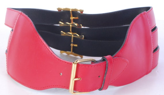 Vintage 80s Belt - 80s Wide Belt - 80s Red Leathe… - image 2