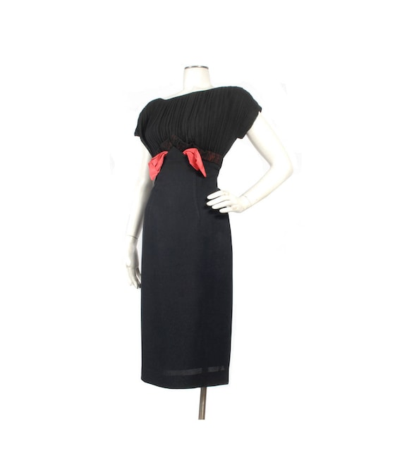 Vintage 50s Dress - Black Party Dress - 50s Hourgl