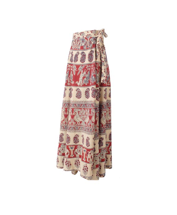 Vintage 70s Skirt - India Block Print Skirt - 70s