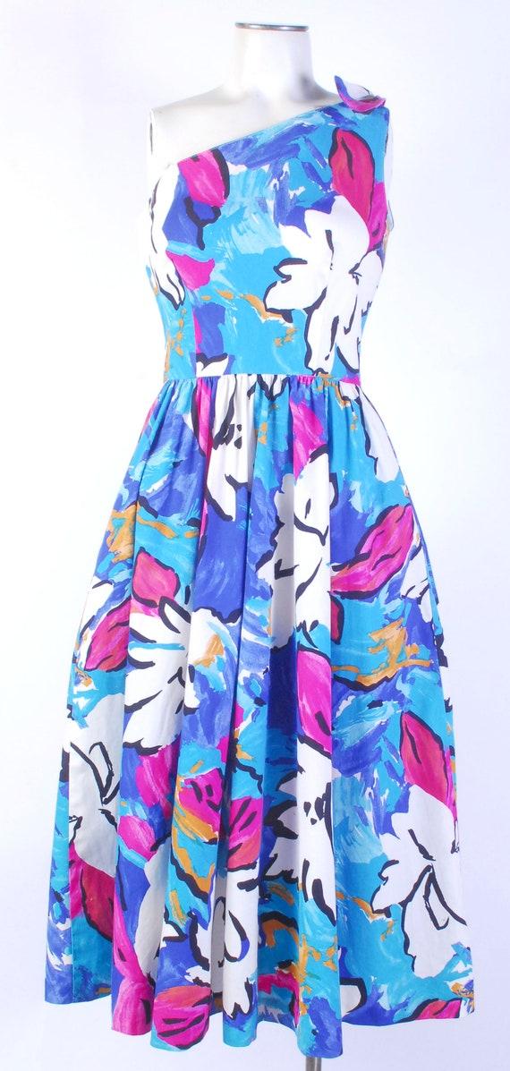 Vintage 80s Dress - One Shoulder Dress - 80s Flor… - image 3