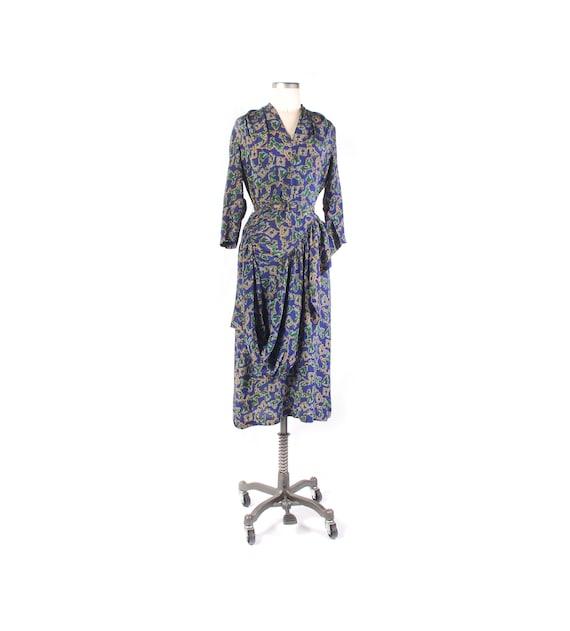 Vintage 40s Dress - 40s Rayon Dress - 40s Novelty