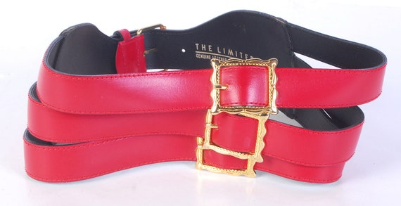 Vintage 80s Belt - 80s Wide Belt - 80s Red Leathe… - image 4