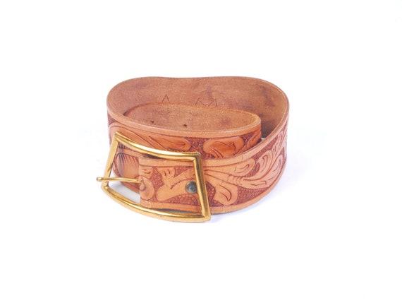 Vintage 40s Belt - Tooled Leather Belt - 40s Weste