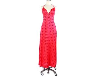 Vintage 70s Dress - 70s Halter Dress - 70s Maxi Dress - 70s Disco Dress - Sexy 70s Dress - 70s Jersey Dress - High Slit - Pink - Orange