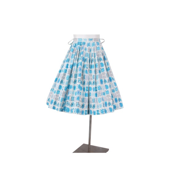 Vintage 50s Skirt - 50s Novelty Print Skirt - 50s