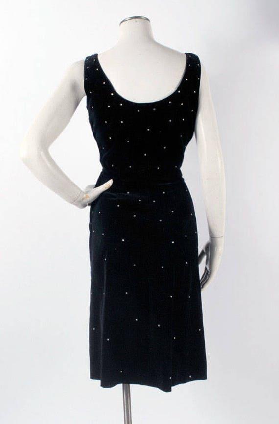 Vintage 50s Dress - 50s Black Velvet Dress - 50s … - image 4