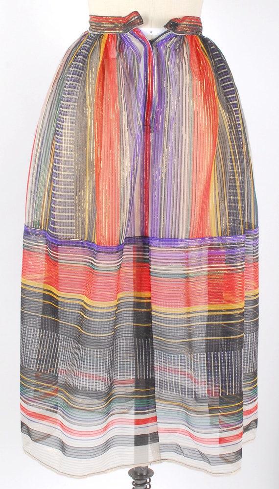 Vintage 70s Skirt - 70s Metallic Gauze Skirt - 70… - image 8