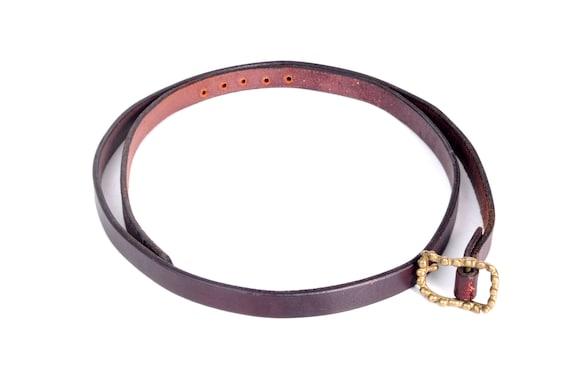 Vintage 70s Belt - 70s Skinny Belt - Slim Leather