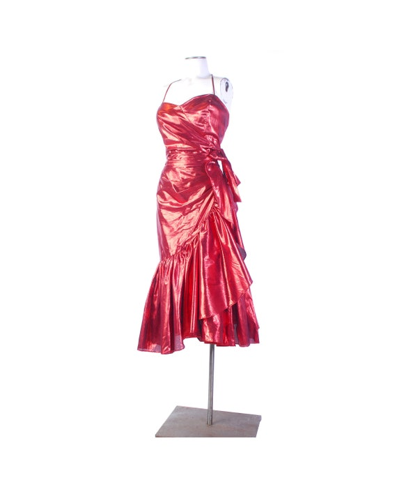Vintage 80s Dress - 80s Prom Dress - Metallic 80s