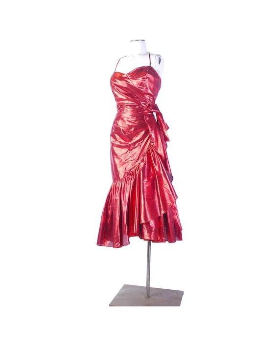 Vintage 80s Dress - 80s Prom Dress - Metallic 80s