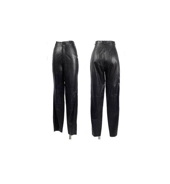 Vintage 80s Pants - Black Leather Pants - 80s Leat
