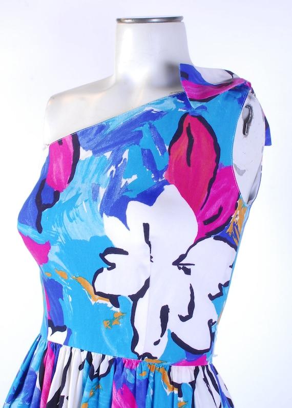 Vintage 80s Dress - One Shoulder Dress - 80s Flor… - image 4