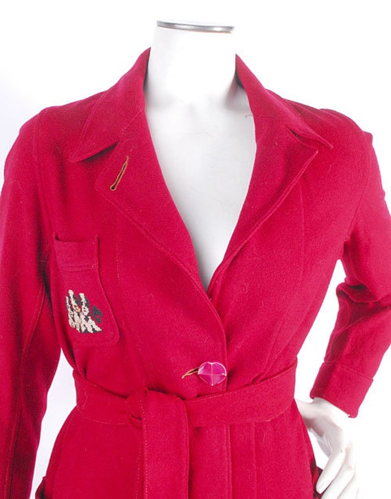 Vintage 40s Robe - 40s Novelty Robe - 40s Wool Ro… - image 4