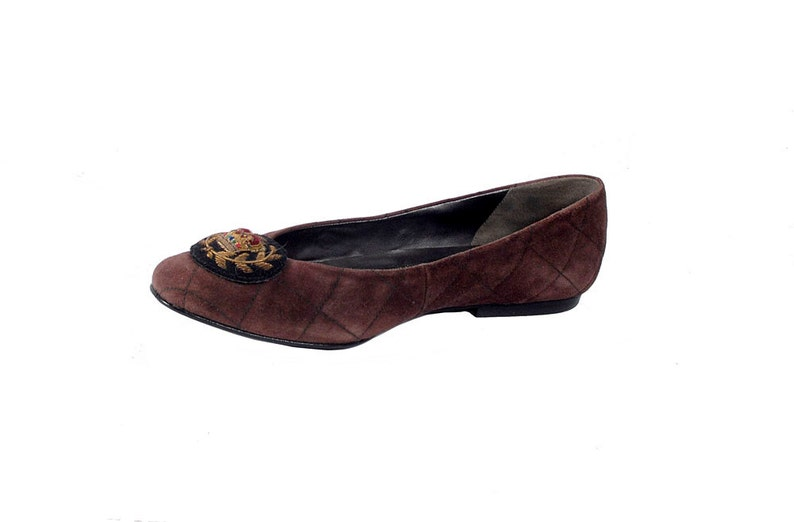 feddbe5f2df42 Vintage 80s Shoes - 80s Ballet Flats - 80s Flats- Brown Ballet Flats -  Brown Flats - Suede Flats - 7.5 - Brown Suede Flats - 80s Shoes