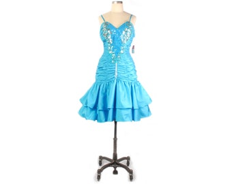 Vintage 80s Dress - 80s Party Dress - 80s Sequined Dress - 80s Prom Dress - 80s Beaded Dress - 80s Blue Dress - Alyce Designs - NOS NWT - L