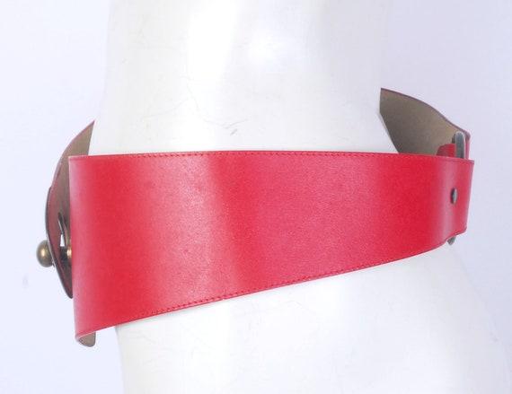 Vintage 80s Belt - 80s Wide Belt - 80s Red Leathe… - image 7