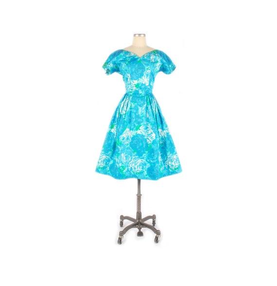 Vintage 50s Party Dress - 50s Floral Dress - 50s … - image 1