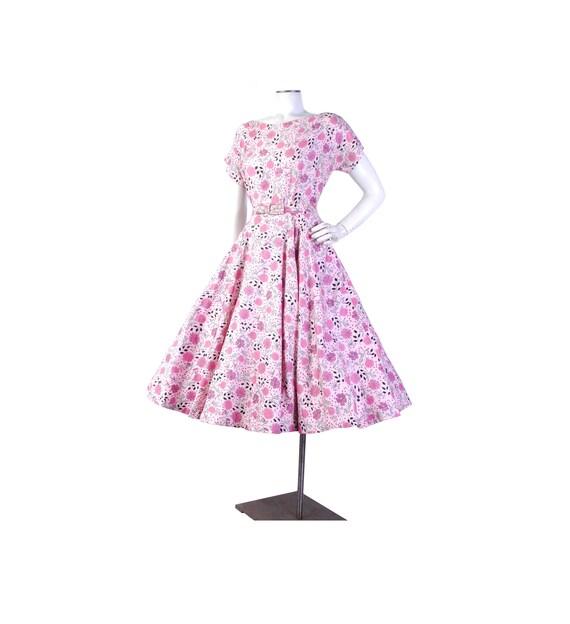 Vintage 50s Dress - 50s Floral Dress - 50s Pink Dr
