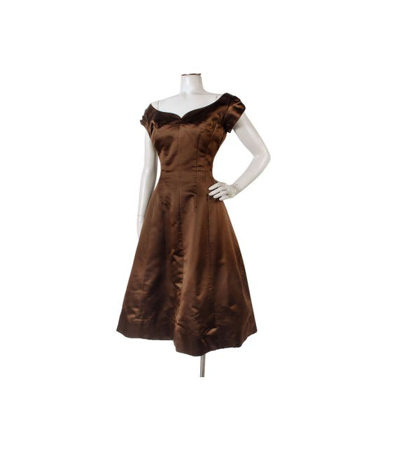 Vintage 50s Dress - 50s Party Dress - Brown Satin